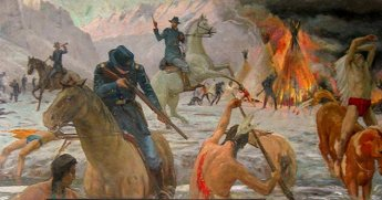 Perhaps the deadliest massacre of Native Americans in US history, the Bear River Massacre has remained in obscurity largely because it occurred during the Civil War. The Northern Shoshone called present-day southeastern Idaho home, and it was there that they were attacked.Mormon settlers had been progressively taking more land from the Native Americans, appropriating nearly all of the arable territory. Striking back at those stealing their land, the Shoshone soon saw themselves in the crosshairs of Colonel Patrick Connor and 200 California Volunteers, who vowed to take no prisoners.At daybreak on January 29, 1863, the soldiers attacked, brutally killing nearly 250 Native Americans. They raped any women who hadn't been killed, used axes to crush the skulls of the wounded, and set fire to all the lodges. Photo credit: Edmond J. Fitzgerald via Smithsonian National Postal Museum