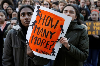 Students participate in a march in support of the National School Walkout in the Queens borough of New York City, New York, U.S., March 14, 2018. REUTERS/Shannon Stapleton - RC17FD9C1390