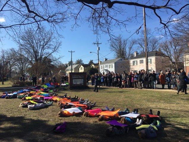 Elementary school walkout in Alexandria, Virginia. More than 65 kids participated. Every student at this walkout suddenly lay down and totally silent