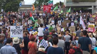 Anti Trump crowd outside Scotland???s parliament in Edinburgh.