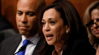 Sen. Kamala Harris asks a question as U.S. Attorney General William Barr testifies before a Senate Judiciary Committee hearing on Capitol Hill in Washington